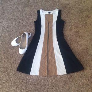 Ann Taylor Navy, White&Tan Sleeveless Flair Dress